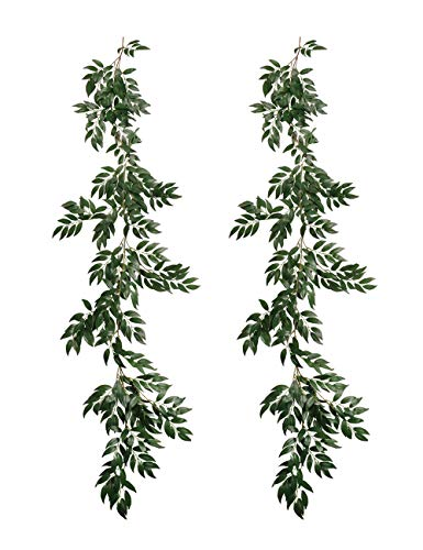 (Pauwer 2 Pack Artificial Willow Leaves Vine Silk Fake Hanging Greenery Garland Willow Twigs Plant Foliage for Wedding Party Wreath Wall Indoor Outdoor Decor(A))
