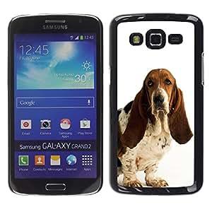 Basset Hound White Dog Pet Droopy - Metal de aluminio y de plástico duro Caja del teléfono - Negro - Samsung Galaxy Grand 2 SM-G7102 SM-G7105