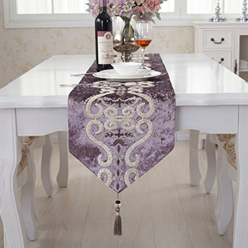 Purple pattern flock velvet embroidered tassel home decorati