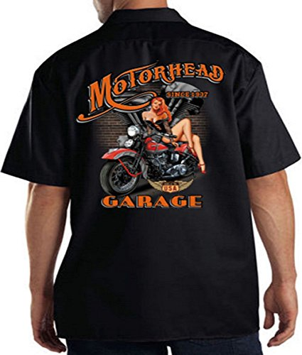 (Motorhead Garage Mechanics Work Shirt Biker Hot Pin Up Girl Motorcycle, Black, XX-Large)