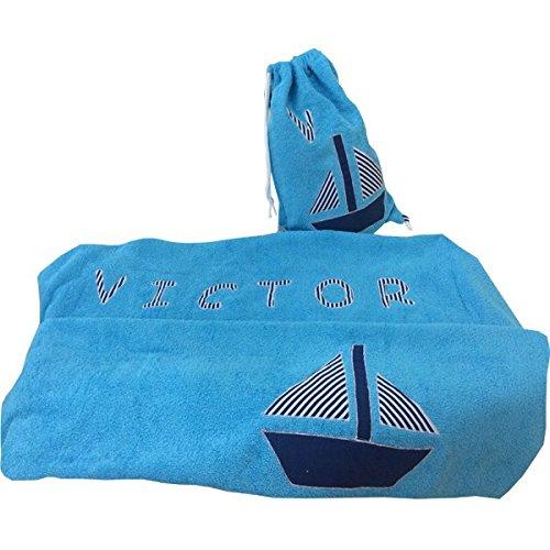 toalla playa 100x150 barco turquesa con macuto