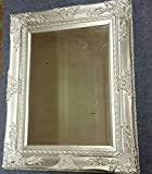 UK's LARGE SILVER WALL MIRROR - NORMALLY £99.95 - French Baroque Antique Silver Wall Mirror with Wide Ornate Frame - Overall Size: 37 inches x 30 inches (94cm x 74cm) - AMAZING VALUE .!