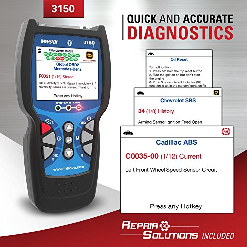 Innova Color Screen 3150f Code Reader/Scan Tool with ABS/SRS and Bluetooth for OBD2 Vehicles by Innova (Image #5)