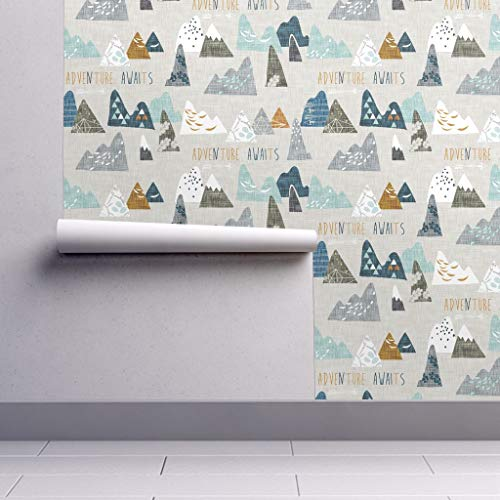 Peel-and-Stick Removable Wallpaper - Max's Mountains (Blue) Regular Custom Baby Mountain Motivational by Nouveau Bohemian - 24in x 144in Woven Textured Peel-and-Stick Removable Wallpaper Roll Blue Mountain Blue Textured Wallpaper