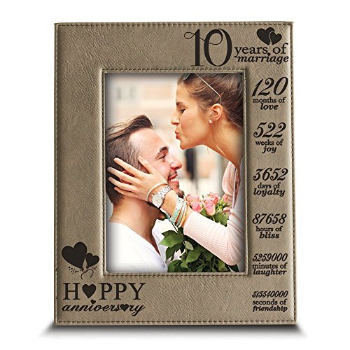 Bella Picture Frame - BELLA BUSTA-Happy 10th Anniversary-10 Years of marriage,Months, Weeks, Days, Hours, Weeks, Minutes, Seconds- 10 years Engraved Leather Picture Frame (4