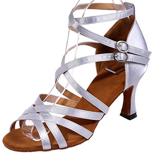 Loslandifen Femmes Double Criss Cross Sangle Chaussures De Danse Armure Style Boucle Salsa Tango Latin Sandales Argent-a