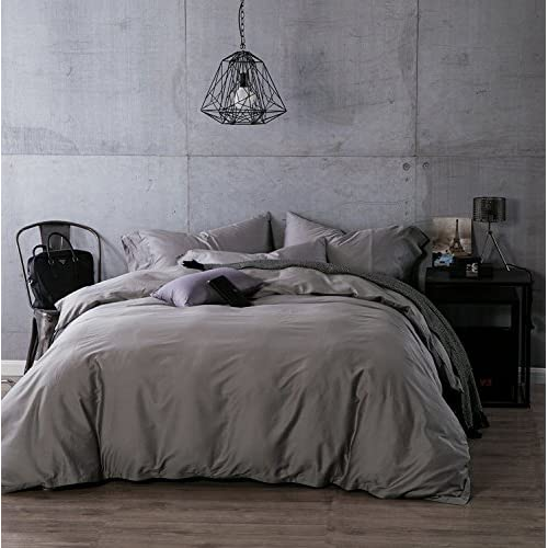 Kiss Tell 100% Egyptian Cotton Duvet Cover Sets, Solid Color Soft Duvet Cover King Silver Grey supplier