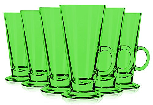 Libbey Light Green Irish Coffee Mug/Dessert Glasses 8.5 oz. set of 6 - Additional Vibrant Colors Available by TableTop King by TableTop King