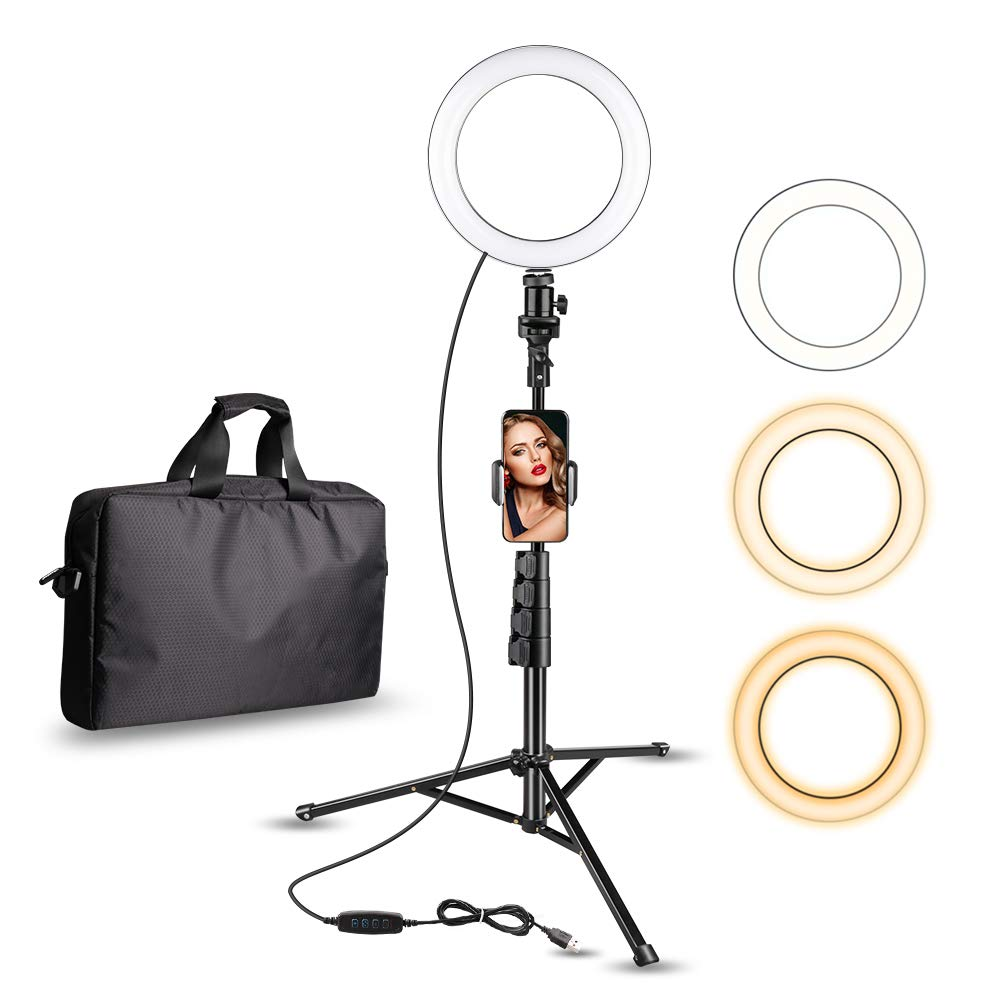 Aureday 8'' Selfie Ring Light with Cell Phone Holder, LED Lightning Tripod Stand with Carry Bag for Makeup & YouTube Stream, Fits iPhone & Android Phone by Aureday