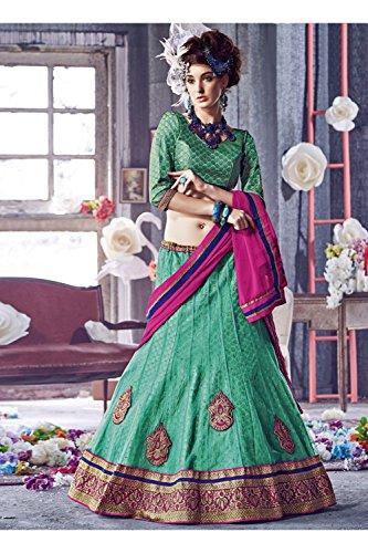 IWS Indian Women Designer Wedding green Lehenga Choli K-4774-42200