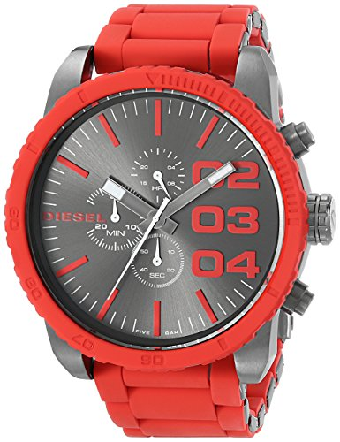 Diesel Men's DZ4289 Double Down Series Stainless Steel Watch with Red Accents