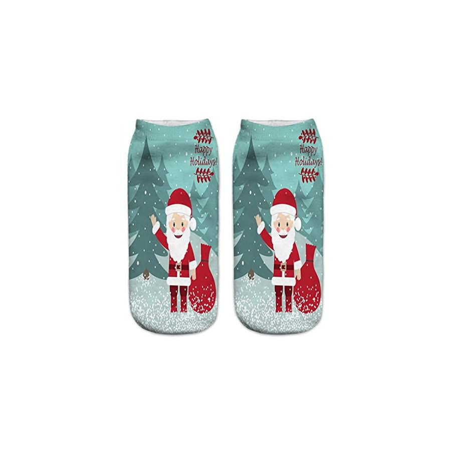 HOT SALE! Napoo Women Cute Christmas 3D Santa Claus Printed Socks Unisex Low Cut Ankle Cotton Socks