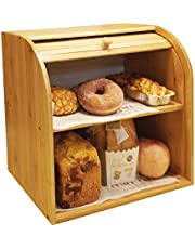 "Goodpick Bamboo Bread Box - 2 Layer Large Capacity Bread Box - Countertop Bread Storage Bin - Rolltop Breadbox for Kitchen Counter Large Capacity Bread Keeper,15"" x 14.2"" x 9.8"", Fully Assembled"