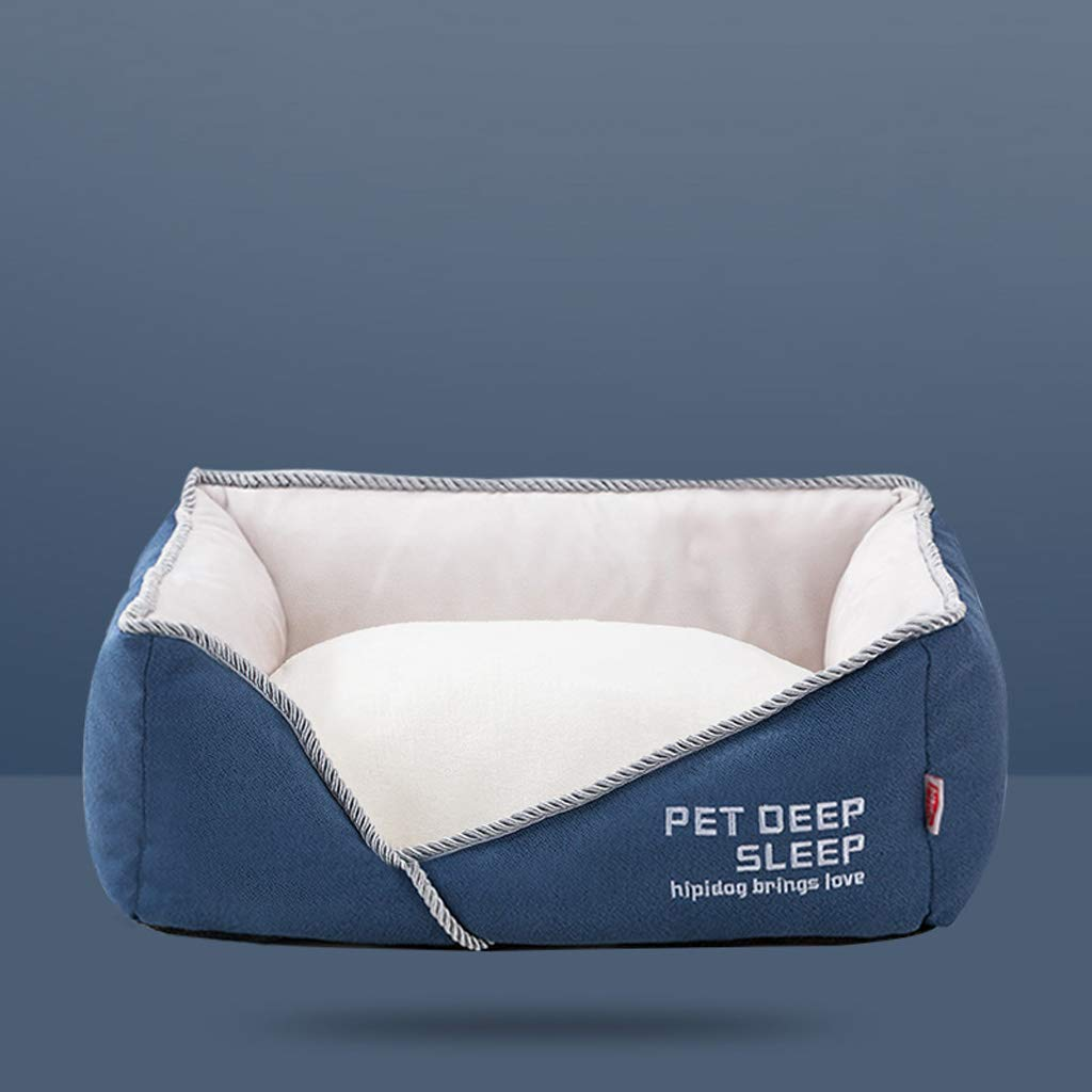 M SXHDMY-Pet bed Detachable Cat Dog Sofa Bed Warm Pet Nest (Dark bluee) (Size   M)