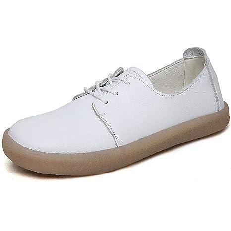 YAN Calzado Casual para Mujer Mocasines y Zapatillas de Cuero sin Cordones Calzado para Caminar Poco