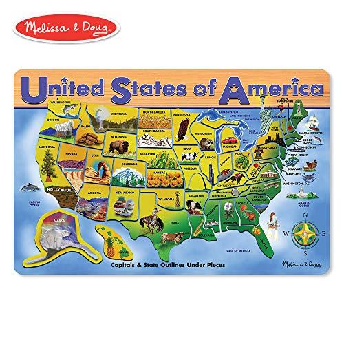 Melissa & Doug Wooden USA Map Puzzle, Wipe-Clean Surface, Teaches Geography & Shapes, 45 Pieces, 18.2″ H × 11.6″ W × 0.45″ ()