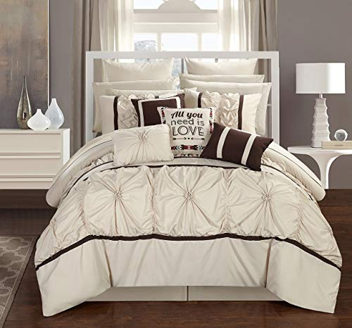 Chic Home Ashville 16 Piece Bed in a Bag Comforter Set, Queen, Off- Off-White,