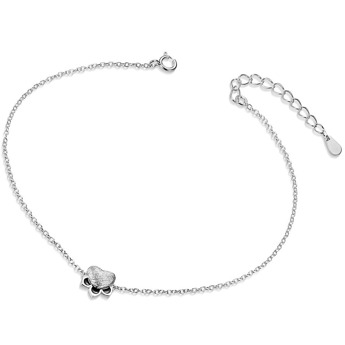 Mmiiss Paw Print Charm Anklet for Women S925 Sterling Silver Adjustable Cat Paw Foot Jewelry