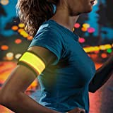 Higo Led Sports Wristbands, Safety Lights for Running, Glow in the Dark Led Slap Bracelets for Cycling, Jogging, Dog Walking (Yellow)