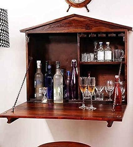 Aarsun Woods Wooden Bar Cabinet | Bar Furniture | Wine Rack | Wine Cabinet | Home Bar Furniture | Liquor Cabinet