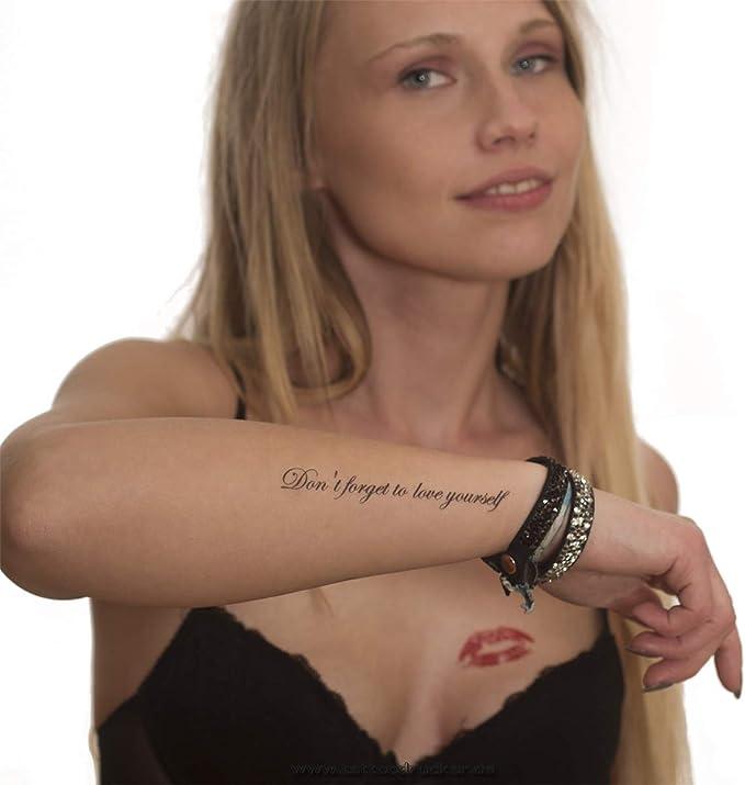 Don t forgt to Love yourself – temporäres piel Tattoo – texto en ...