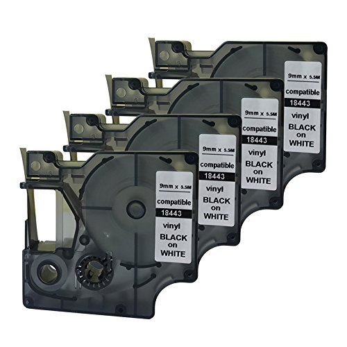 Rhino Labelers - NEOUZA Compatible for DYMO Rhino IND Black on White Vinyl Label Tape 18443 9mm 3/8