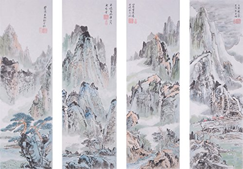 Jiangnanruyi Art Landscape Original Hand Painted Artwork Unframed Chinese Brush Ink and Wash Watercolor Painting Drawing Decorations Decor for Office Living Room Bedroom (48×15inch, A set of 4PCS)