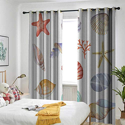 - Decorative Curtains for Living Room Shading Insulation Cable Ring Screen 2 Panel Nautical,Collection of Different Type Seashells Scallop Mollusk Summer Exotic Creatures Animals Multi