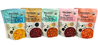 Khazana Gourmet Indian Entrée |USDA-Organic/Vegan|- Curry • 10oz • [Fully Cooked & Ready-to-Eat Meals/Snacks/Dinner for a tasty bite of Indian Kitchen Food]