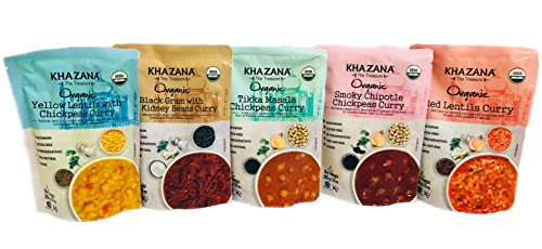 Khazana Gourmet Indian Food Ready to Eat Packaged Meals |USDA-Organic/Vegan/KETO|- CURRY VARIETY PACK • 10oz(5 Pack) • [Prepared Microwave Dishes, Healthy & Tasty Bite of Indian Kitchen, MRE]