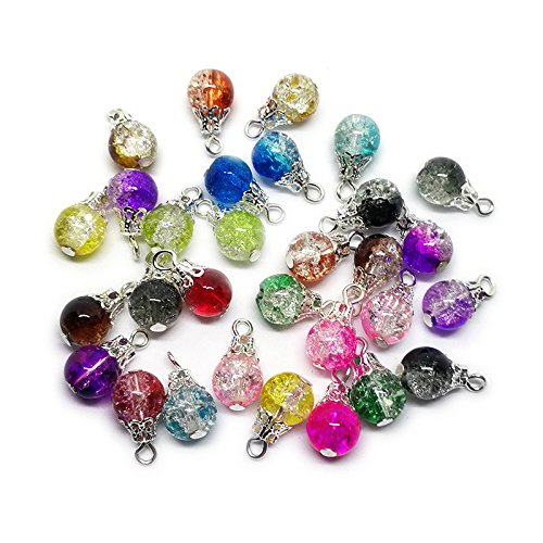 Dangle Birthstones Jewelry - Beading Station 30-Piece Handcrafted Crackle Glass Beads Drops with Silver Wire and Bead Cap for Jewelry Making