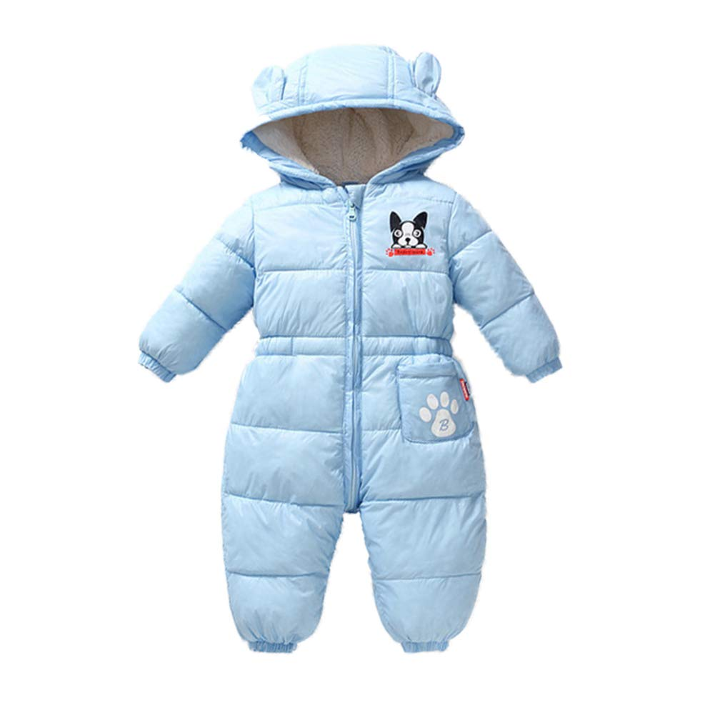 LSERVER Unisex Baby Winter Hooded Down Jumpsuit Snowsuit Romper Warm Pramsuit Infant Bodysuit Onesies X8235YU