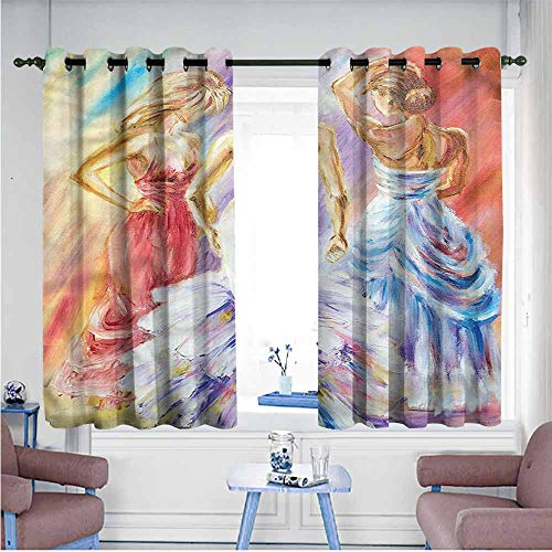 Mdxizc Privacy Curtain Country Dress Up Party Theme Ladies Children's Bedroom Curtain W55 xL39 Suitable for Bedroom,Living,Room,Study, etc. ()