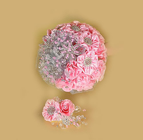 A&C Fabric Flower Round Bouquet (Satin Silk Flowers.) (Pink) by AC