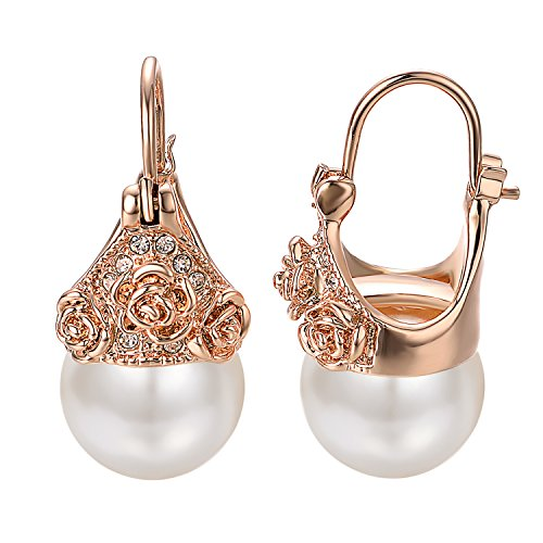 (Yoursfs Pearl Drop Earrings For Women 18K Plated Rose Gold CZ Crystal Rose Flower Clip On Earrings)