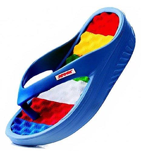 Thong Massage Comfort (uYES Women's Beach Wedges Platform Massage Thong Slippers Sandals Casual High Heel Flip Flops (10, Blue))
