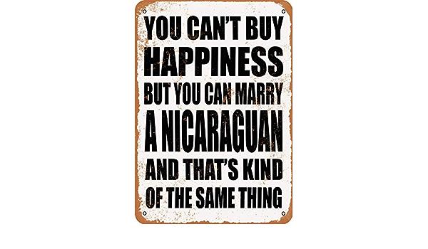 Vintage Look Marry a NICARAGUAN Metal Sign