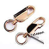 4 in 1 Multitool Keychain Flashlight, Jobon Zinc Alloy Car Key Chain with LED Light, Bottle Opener, 2 Size Key Rings for Perfect Gifts (Pack of One)
