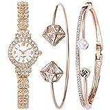 Souarts Women's Rhinestone Round Quartz Watch Bracelet Jewelry Set Rose Gold Color
