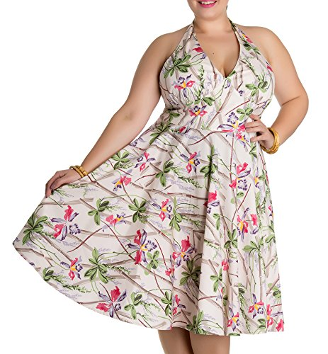 mit Bamboo Bunny Blüten Sticks Plus Orchids Kleid Hell Damen Cremefarben Size Kleid Neckholder tzwfB