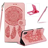 Strap Pu Leather Case for iPhone XS Max,Wallet Flip Cover for iPhone XS Max,Herzzer Classic Elegant Book Style [Pink Wind Chime] Embossed Slim Fit Stand Leather Folio Pouch Protective Mobile Cellphone Case for iPhone XS Max