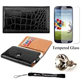 Elegant Crocodile Skin Multi-Use Wallet Protective Case with Secure Hand Strap (Black) For Samsung Galaxy S4 Android Smartphone 4G LTE (Jelly Bean) + Silver Swarovski Crystal Headphone Jack Dust Plug + an eBigValue  Determination Hand Strap