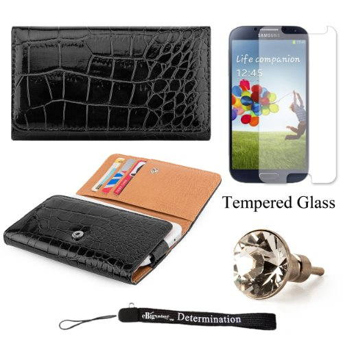 Elegant Crocodile Skin Multi-Use Wallet Protective Case with Secure Hand Strap (Black) For Samsung Galaxy S4 Android Smartphone 4G LTE (Jelly Bean) + Silver Swarovski Crystal Headphone Jack Dust Plug + an eBigValue  Determination Hand Strap by eBigValue