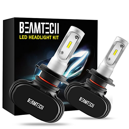 BEAMTECH H7 LED Headlight Bulb,Fanless CSP Chips All in One 50W 8000 Lumens 6500K Xenon White Extremely Bright Conversion Kit of 2 (Bulb Bmw Led 528xi Headlight)