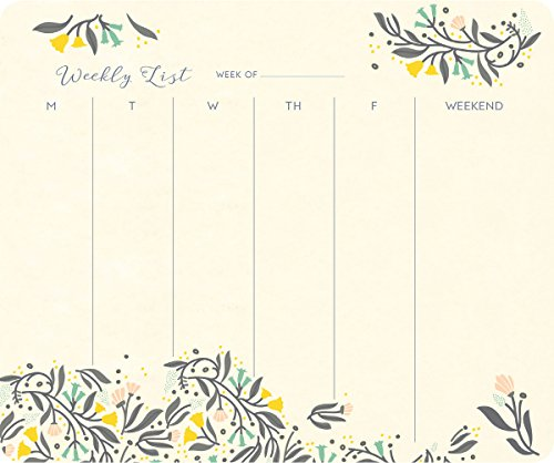 High Note Floral Charm Weekly To-do Pad (w/Magnet): Handy Non-Dated Weekly Tear Off Sheets Featuring Unique, Original, Designer Art by Jill De Haan (CHT0310)