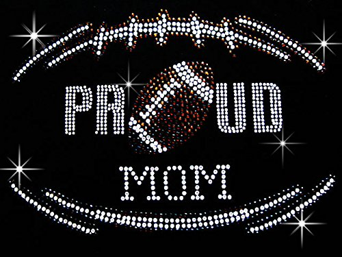 Proud Football Mom Sports Iron on Rhinestone Iron on Hotfix Transfer bling DIY- 9'' By 6'' by nayana