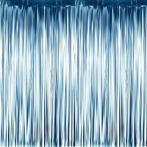 Sumind 4 Packs Photo Booth Backdrops Foil Curtains Metallic Tinsel Backdrop Curtains Door Fringe Curtains for Wedding Birthday Christmas Halloween Disco Party Favour Decorations (Matt Light Blue)