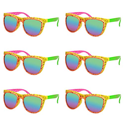 Ocean Line 80's Neno Flip up Sunglasses - Double Lens Glasses, 90's Party Favors, Novelty Shades, Party Toys, Funny Costume Accessories for Kids & Adults 6 Pack