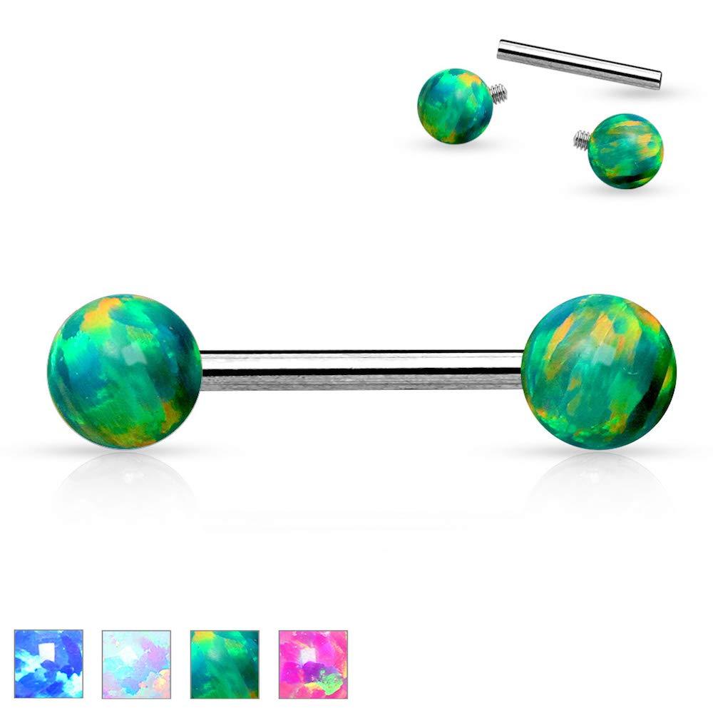 Covet Jewelry 14 Gauge Internally Threaded Opal Balls on Both Sides 316L Surgical Steel Nipple Bar