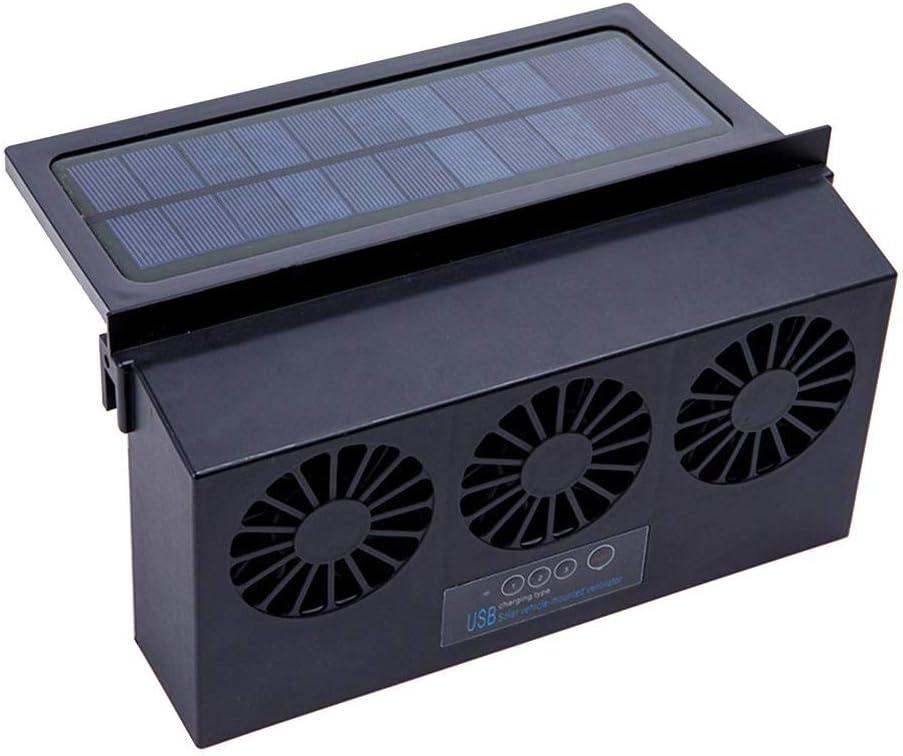 Adminitto88 - Dispositivo de ventilación por energía solar, ventilador de doble ventilador Generación de ventilación de coche, ventilador de salida USB para aire fresco en el coche